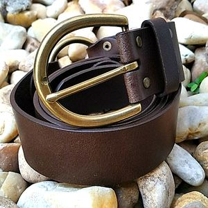 WOMEN'S BROWN GENUINE LEATHER BELT + CARBINERS